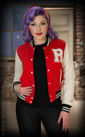 Ladies Sweat College Jacket - rouge
