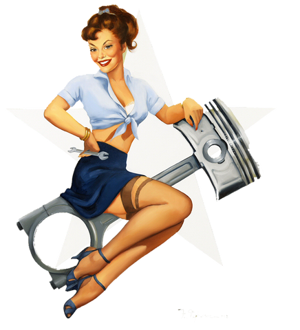 Sticker Pin-Up Rétro sur piston