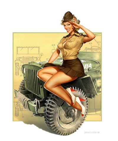 Sticker Pin-Up Rétro Army