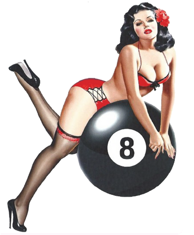 Sticker Pin-Up Rétro Eight Ball