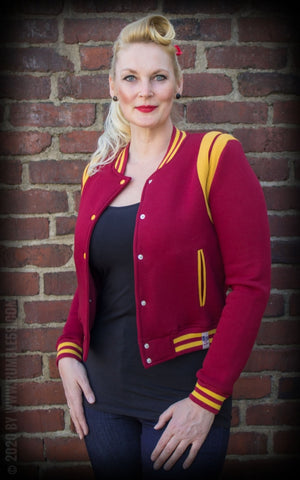 Ladies Sweat College Jacket - Bordeaux / Moutarde