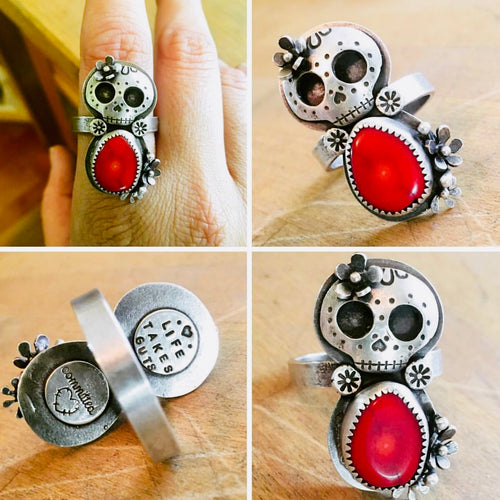 RED CORAL SKULL RING (available in YOUR size)