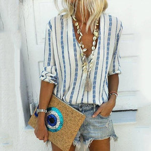 Casual Stripes Half Sleeve Blouse
