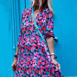European And American Deep V-Neck Abstract Style Print Dress