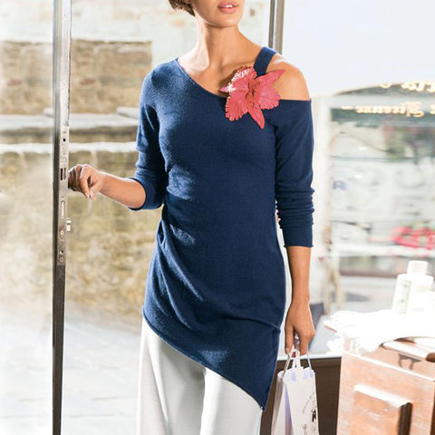 Women's Casual Pure Color Strapless Long-Sleeved Shirt