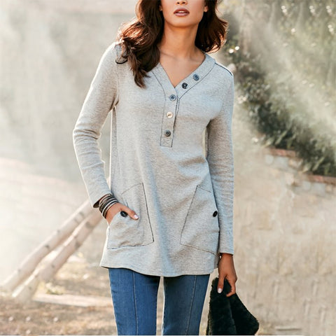 Casual V Neck Solid Colour Long Sleeve T-shirt
