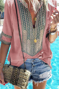 V Neck  Patchwork Printed Blouses