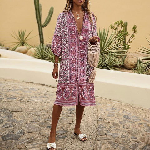 Bohemia Style V Collar Hollow Loose Casual Vacation Dress