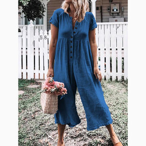 Women's Leisure Pure Color Buckle Short Sleeved Trousers Jumpsuit