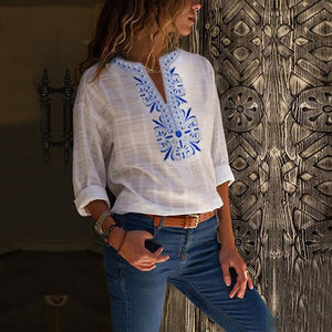 Sexy V Neck Print Blouses