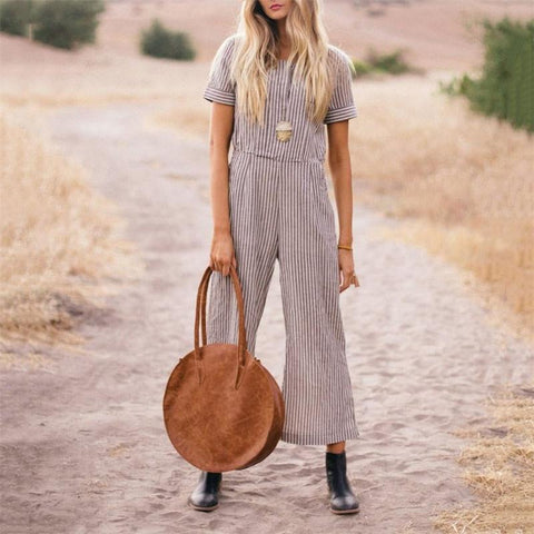 Daily Short Sleeves High Waist Strip Casual Jumpsuits