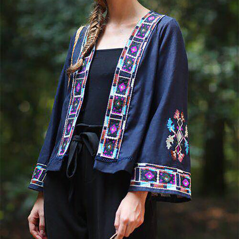 Ethnic Style Embroidery Horn Long Sleeve Loose Sun Protective Cardigan