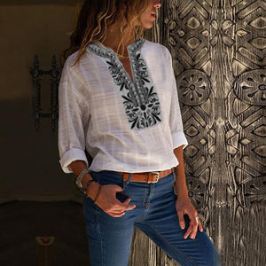 Cotton And Linen Cropped Sleeves Printed Stitching T-Shirt Top