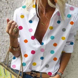 Polka Dot Printed V-Neck Long-Sleeved Slim Shirt