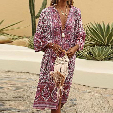 Fashion V-Neck Button-Up Printed Loose Cardigan Casual Maxi Dress