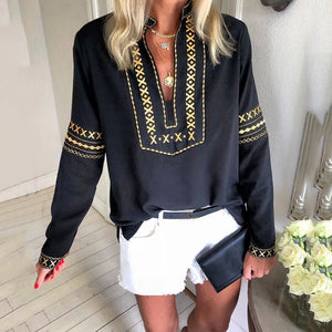 Vintage V Neck Printed Colour Long Sleeve Blouse