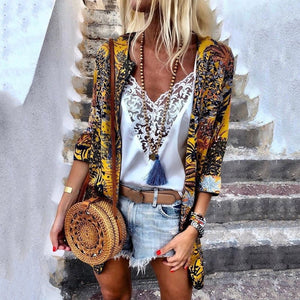 Fashion Printed Colour Thin Section Loose Cardigan