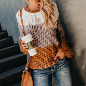 Color Matching Knitwear Stitching Pullover Sweater
