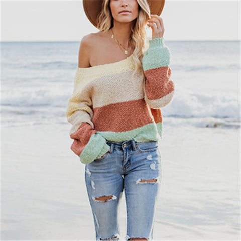 Loose Color Stitching Pullover Knitwear Sweater