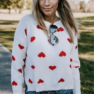 Loose Heart Knit Pullover Sweater