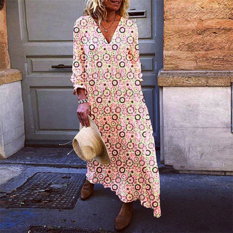 Fashion V Neck Printed Long Sleeve Dress