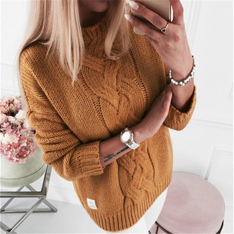 Casual Twist Knit Pullover Sweater