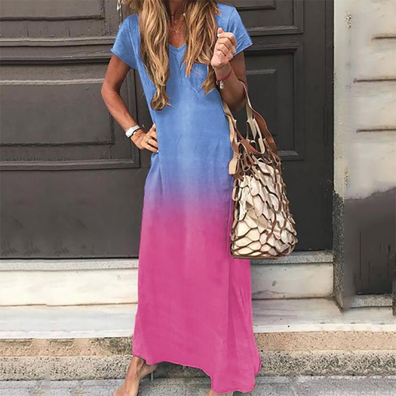 Short Sleeve Gradient Casual Maxi Dress