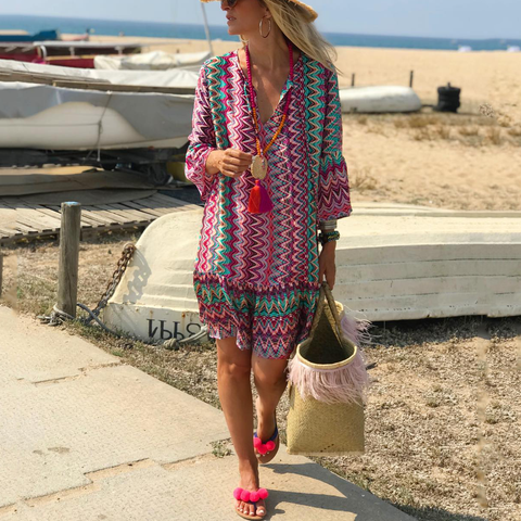 Bohemian Print Vacation Casual Mini Dress