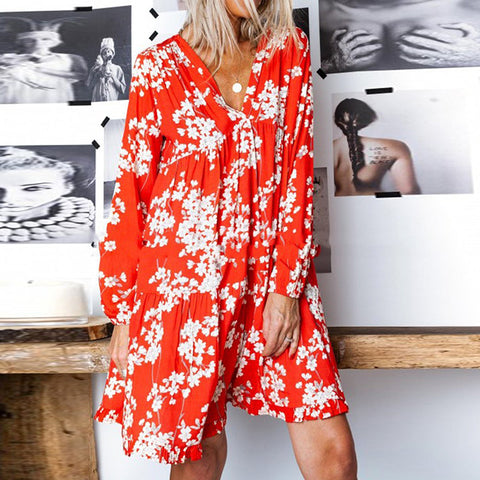 Fashion V-Neck Printed Long Sleeve Large Swing Dress