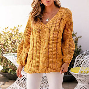 Casual V Neck  Pure Colour Long Sleeve Loose Sweater