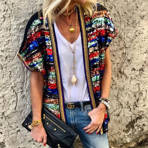 Fashion Color Sequined Short Sleeve Border Cardigan