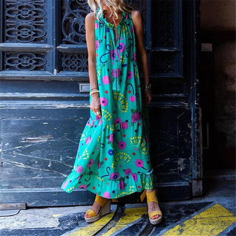 Bohemian Printed Color Sleeveless Cotton Dress