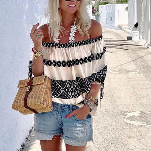 Casual One-Shoulder Neck-Neck Print Top