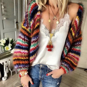Casual Rainbow Contrast Color Knit Sweater Cardigan