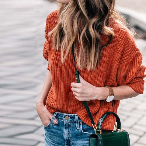 Casual Round Neck Solid Color Long Sleeve Sweater