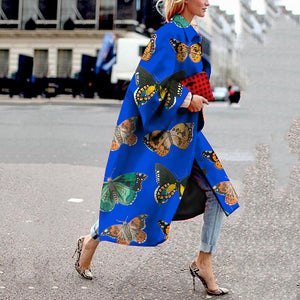 Women's Fashion Turndown Collar Printed Color Coat