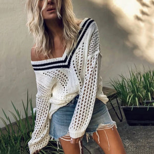Sexy Word Collar Stripe Printed Long Sleeve Knit Sweaters