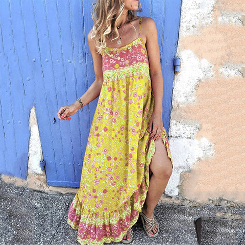 Bohemian Sleeveless Printed Color Sling  Dress