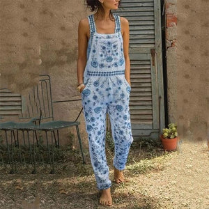 Bohemian Sleeveless Printed Color Sling  Jumpsuit