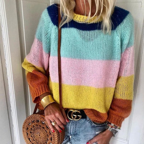 Casual Round Neck Colorblock Long Sleeve Sweater