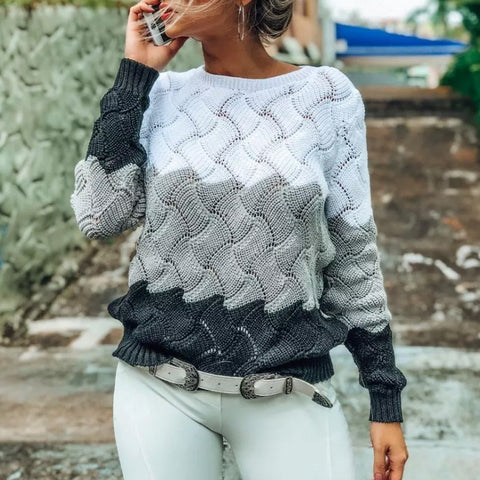 Casual Colouring Long Sleeve Round Neck Sweater