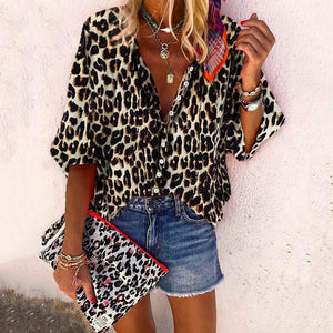 Women Fashion V-Neck Long Sleeve Leopard Print Loose Blouse