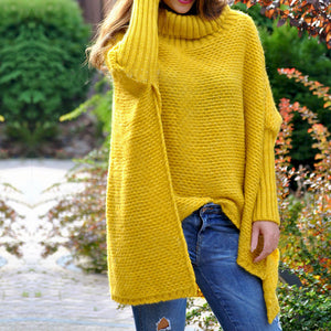 Design High Collar Pure Colour Batwing Sleeve Slit Sweater