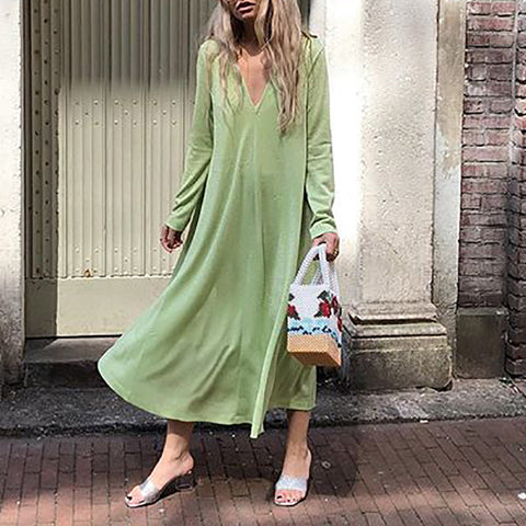Women Casual Deep V-Neck Long Sleeve Plain Loose Dress