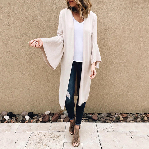 Casual Solid Color Trumpet Sleeve Long Sleeve Knit Cardigan