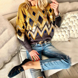 Fashion Round Neck Geometric Printed Long Sleeve Sweaters