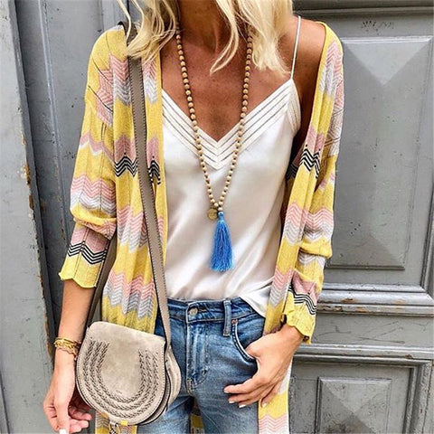 Autumn And Winter Casual Striped Knit Cardigan
