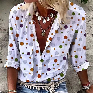 Casual Turndown Collar Patch Pocket Polka Dot Blouse