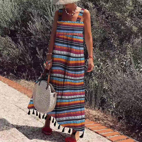 Pastoral Style Sling Sleeveless Printed Colour Tassel Dress