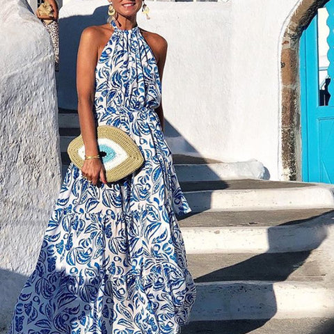 Fashion Elegant Halter Neck Sleeveless Print Maxi Dress